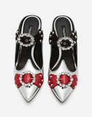 MIXED MATERIAL MULES WITH APPLIQUÉS AND JEWEL HEEL
