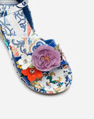 WEDGE SANDALS IN PRINTED PATENT LEATHER WITH EMBROIDERY