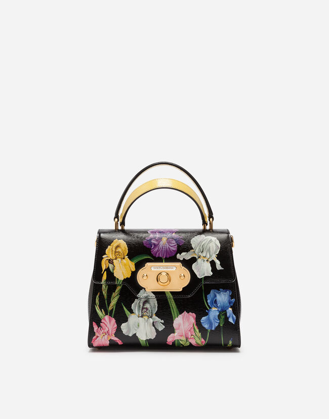 Dolce&Gabbana WELCOME HANDBAG IN IRIS PRINT HAND-GRAINED CALFSKIN