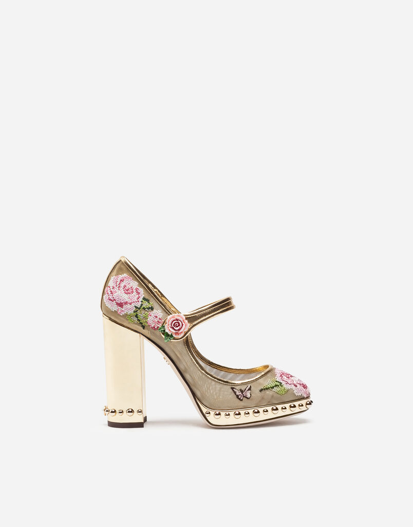 Embroidered Mary Jane With Jewel Heel