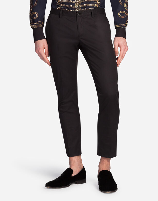 Dolce & Gabbana TROUSERS IN COTTON WITH TUXEDO DETAILS