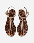 Dolce & Gabbana PATENT THONG SANDALS WITH LOGO