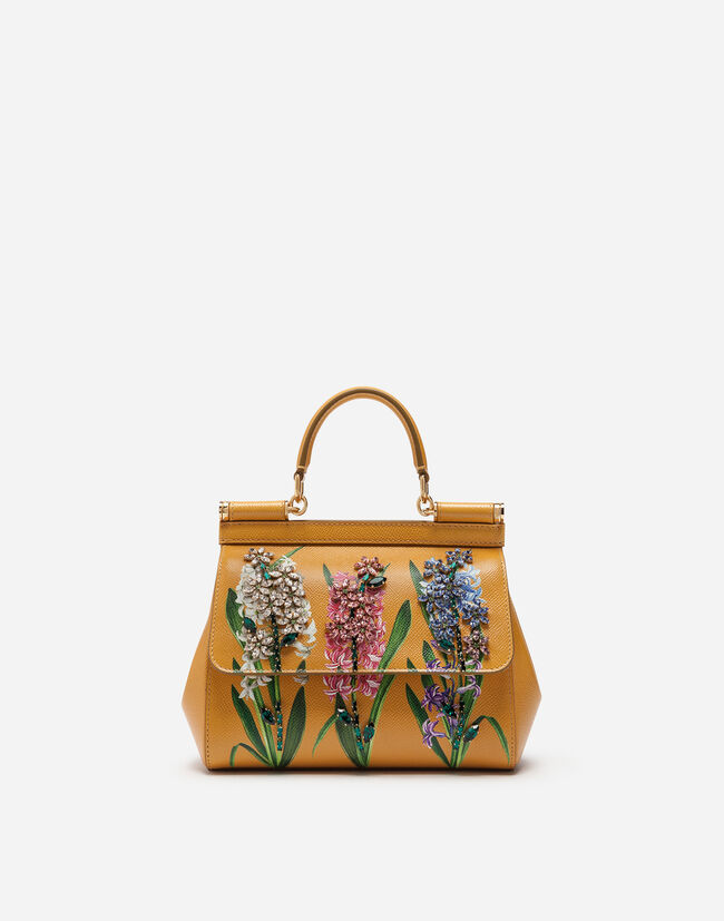 SICILY HANDBAG IN PRINTED DAUPHINE CALFSKIN WITH EMBROIDERIES