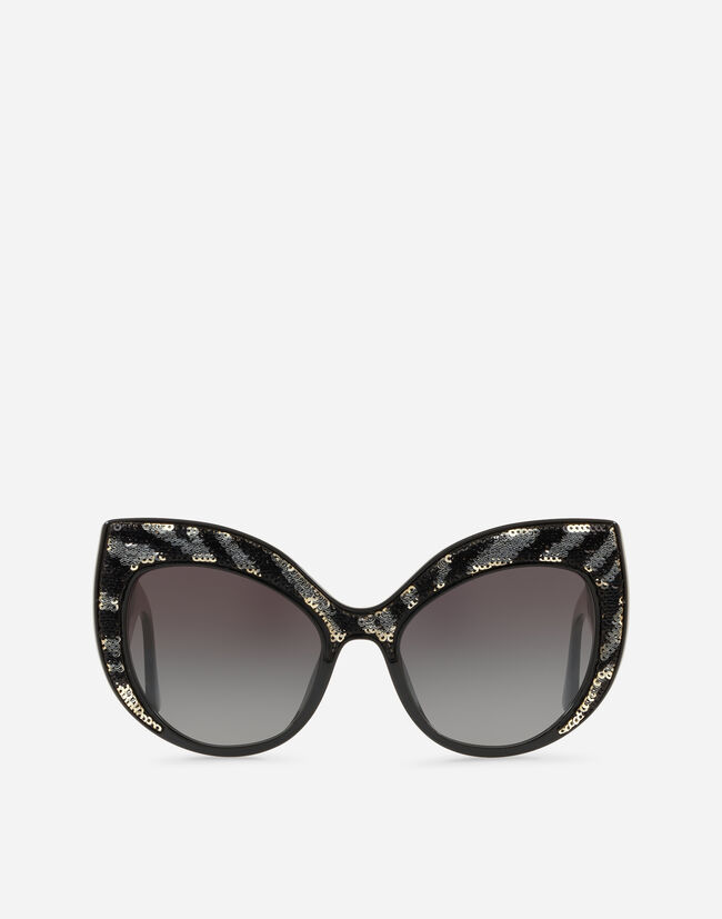 OVERSIZE CAT-EYE SUNGLASSES IN ACETATE WITH SEQUINS