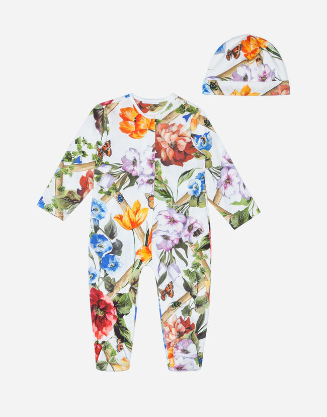 SET WITH PRINTED COTTON ONESIE AND CAP