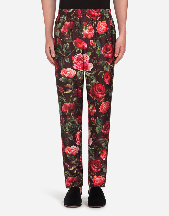 Dolce&Gabbana PAJAMA PANTS IN PRINTED SILK