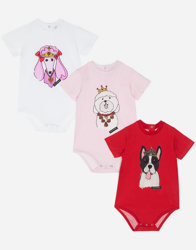 SET WITH THREE BODYSUITS IN PRINTED COTTON