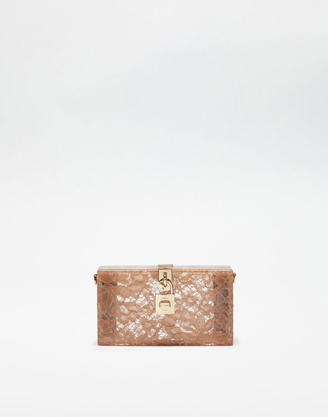 Dolce&Gabbana DOLCE BOX CLUTCH IN PLEXIGLASS AND LACE