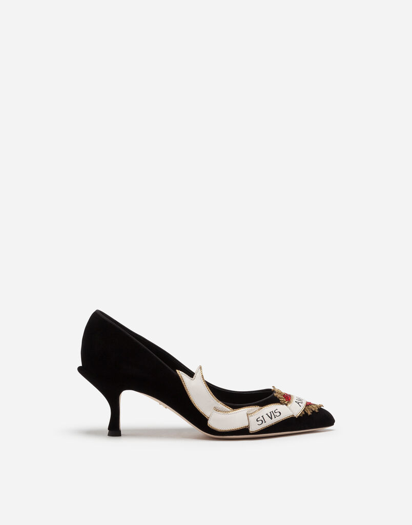 VELVET PUMPS WITH EMBROIDERY