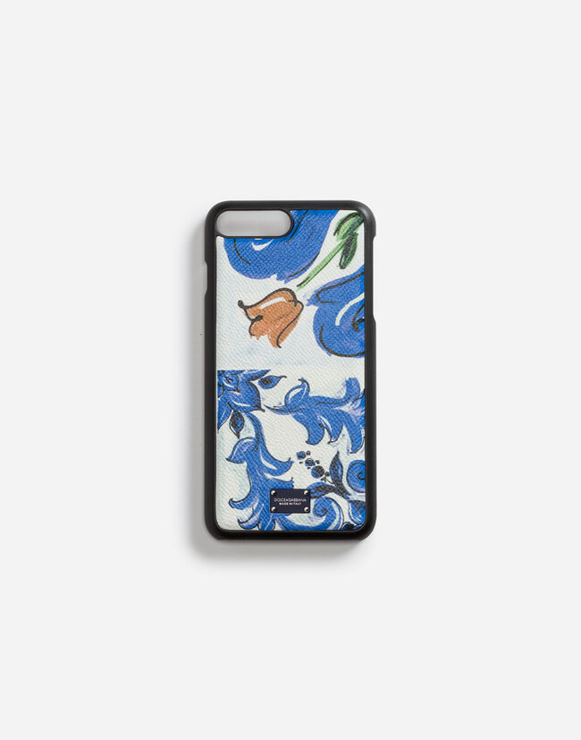 IPHONE 7 PLUS COVER WITH MAJOLICA-PRINT DAUPHINE CALFSKIN DETAIL