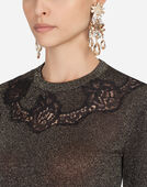 Dolce & Gabbana LUREX SWEATER WITH LACE INTARSIA