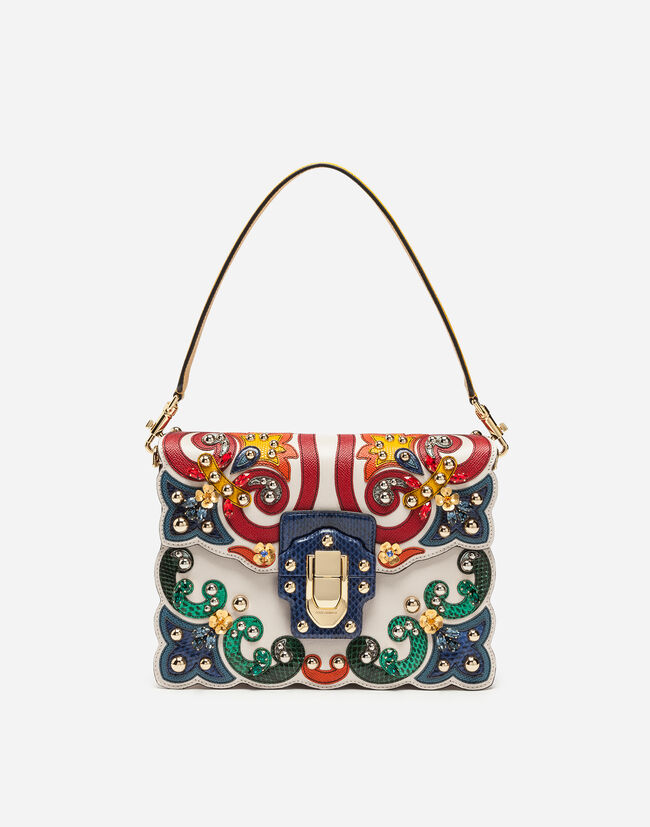 LUCIA SHOULDER BAG IN LEATHER AND AYERS SNAKESKIN WITH APPLIQUÉS