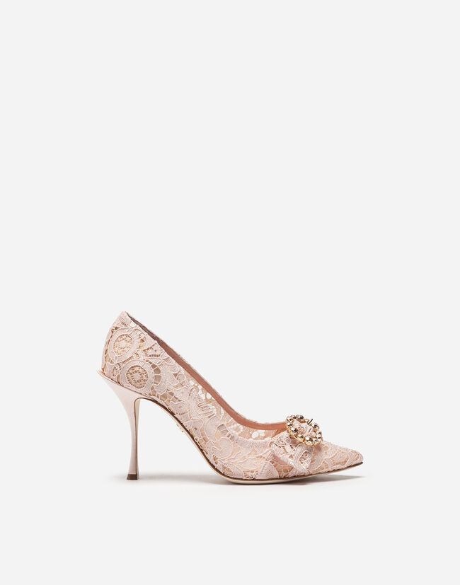 LACE PUMPS WITH BEJEWELED DETAIL