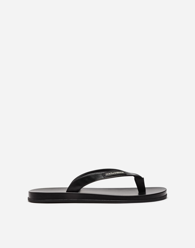 Dolce & Gabbana THONG SANDALS IN RUBBER AND NAPPA CALFSKIN