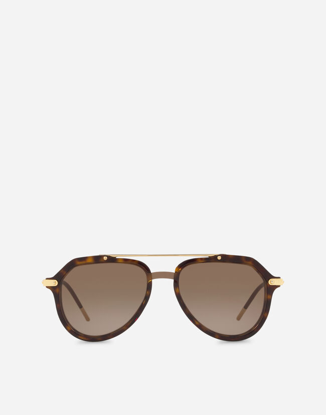Dolce & Gabbana PILOT SUNGLASSES IN ACETATE WITH DOUBLE BRIDGE