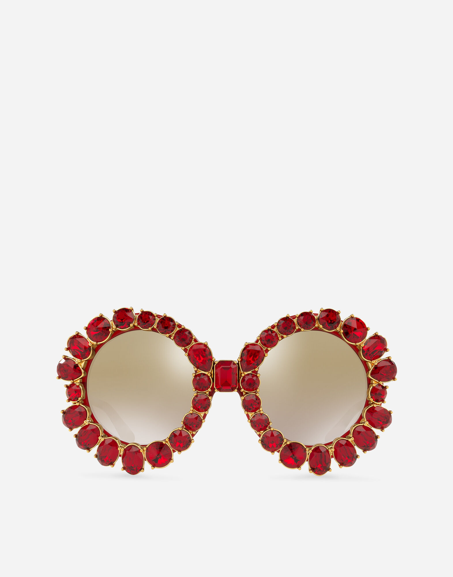 Round Sunglasses With Colorful Crystals in Red Transparent