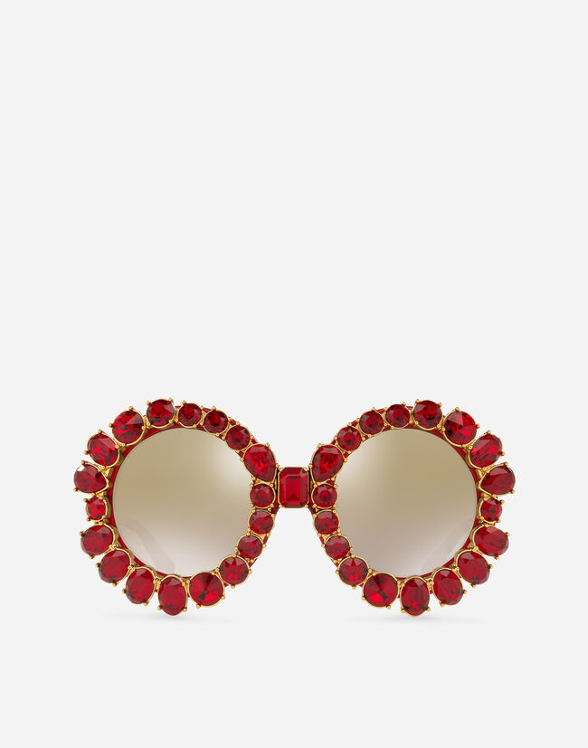 Dolce&Gabbana ROUND SUNGLASSES WITH COLORFUL CRYSTALS