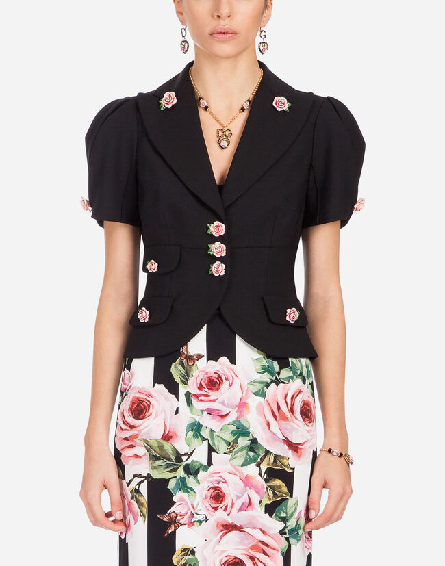 SINGLE-BREASTED SHORT WOOL JACKET WITH SMALL ROSES