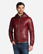 BOMBER IN LAMBSKIN WITH A HOOD