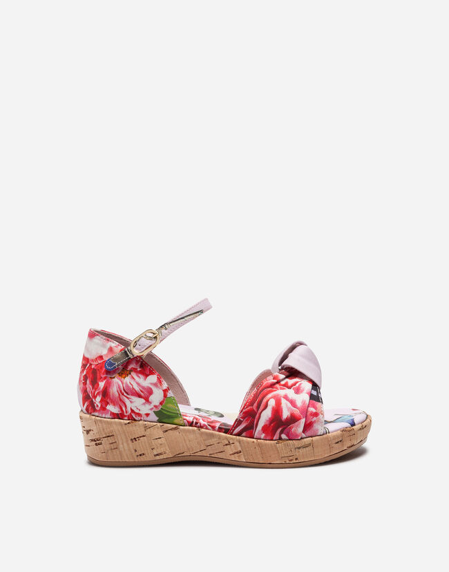 WEDGE SANDALS IN PRINTED CANVAS