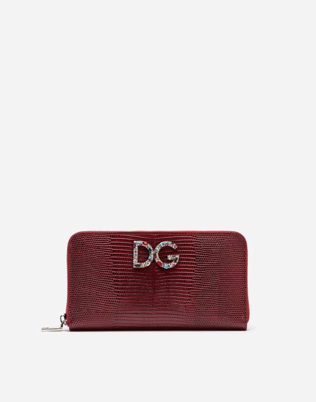 Dolce&Gabbana ZIP-AROUND WALLET IN IGUANA PRINT CALFSKIN