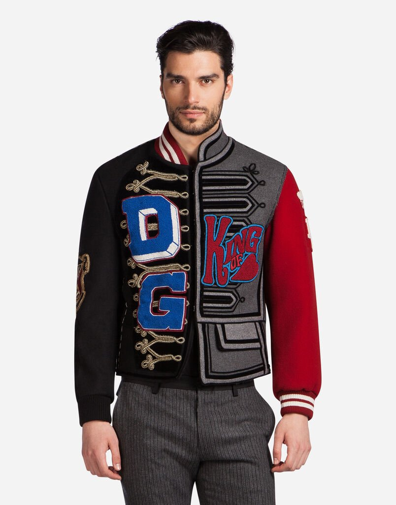 WOOL BLEND BOMBER JACKET WITH PATCHES