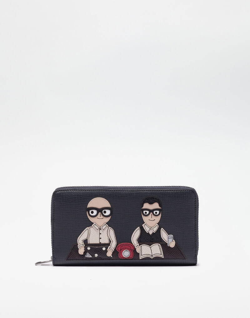 ZIP AROUND WALLET IN DAUPHINE LEATHER WITH PATCH OF THE DESIGNERS