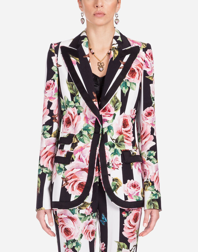 SINGLE-BREASTED BLAZER IN PRINTED CADY