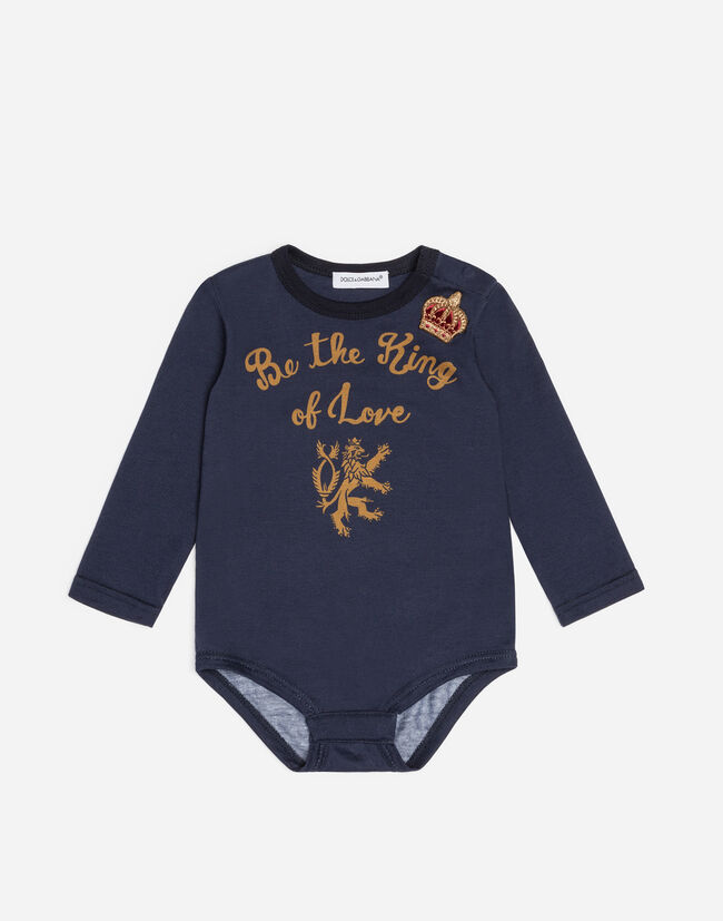PRINTED COTTON BODYSUIT WITH EMBROIDERY