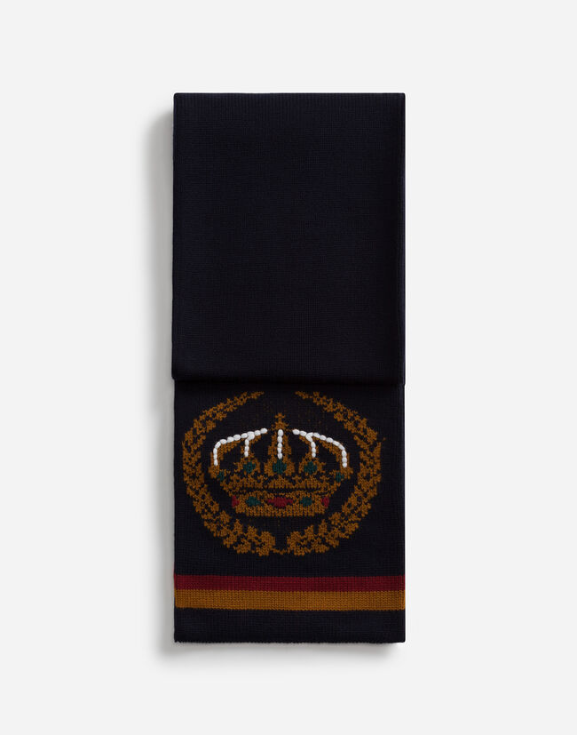SCARF IN INLAID CASHMERE AND WOOL WITH EMBROIDERY