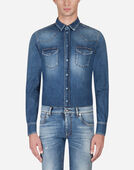 Dolce & Gabbana SHIRT IN STRETCH DENIM