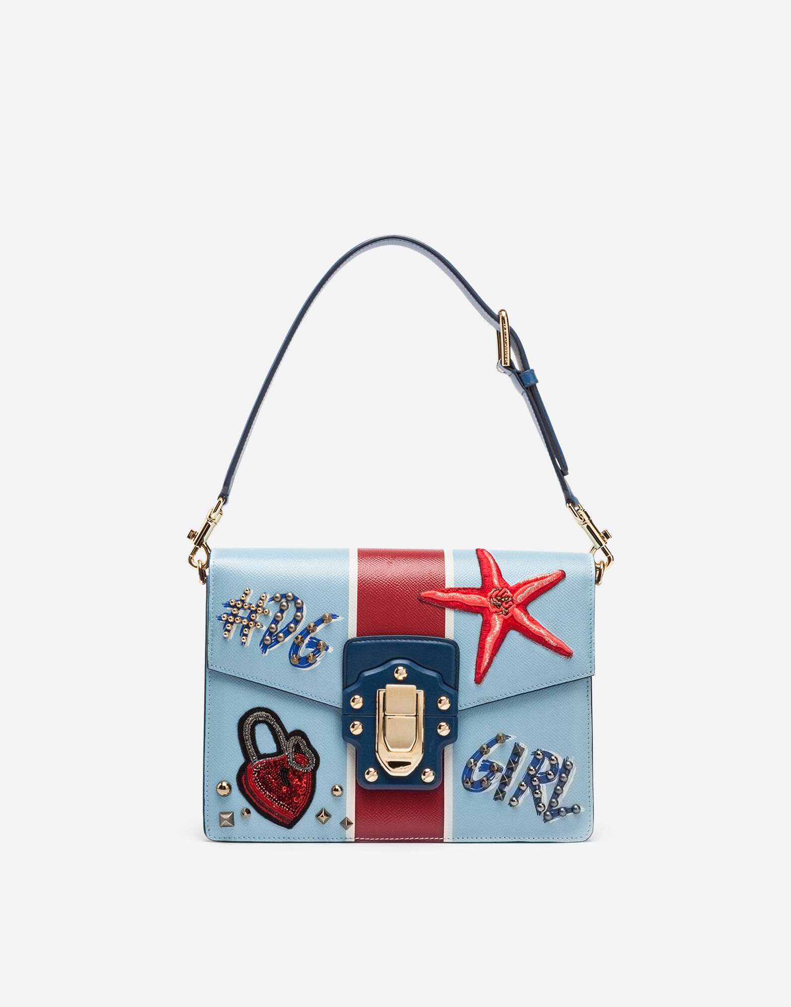 LUCIA SHOULDER BAG IN PRINTED CALFSKIN WITH EMBROIDERY