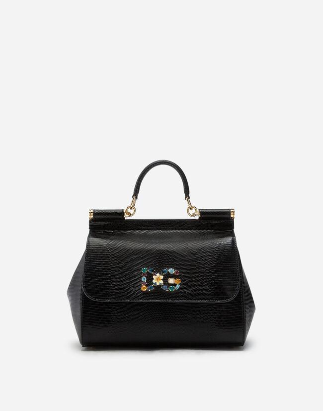 d00027f544 Medium Leather Sicily Bag With Logo Patch - Women | Dolce&Gabbana