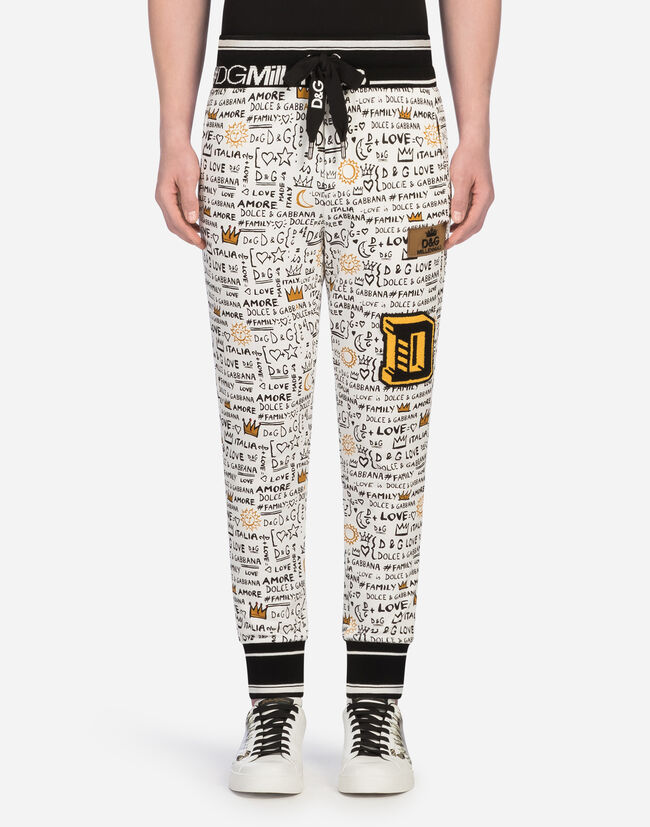 JOGGING PANTS IN PRINTED COTTON WITH PATCHES
