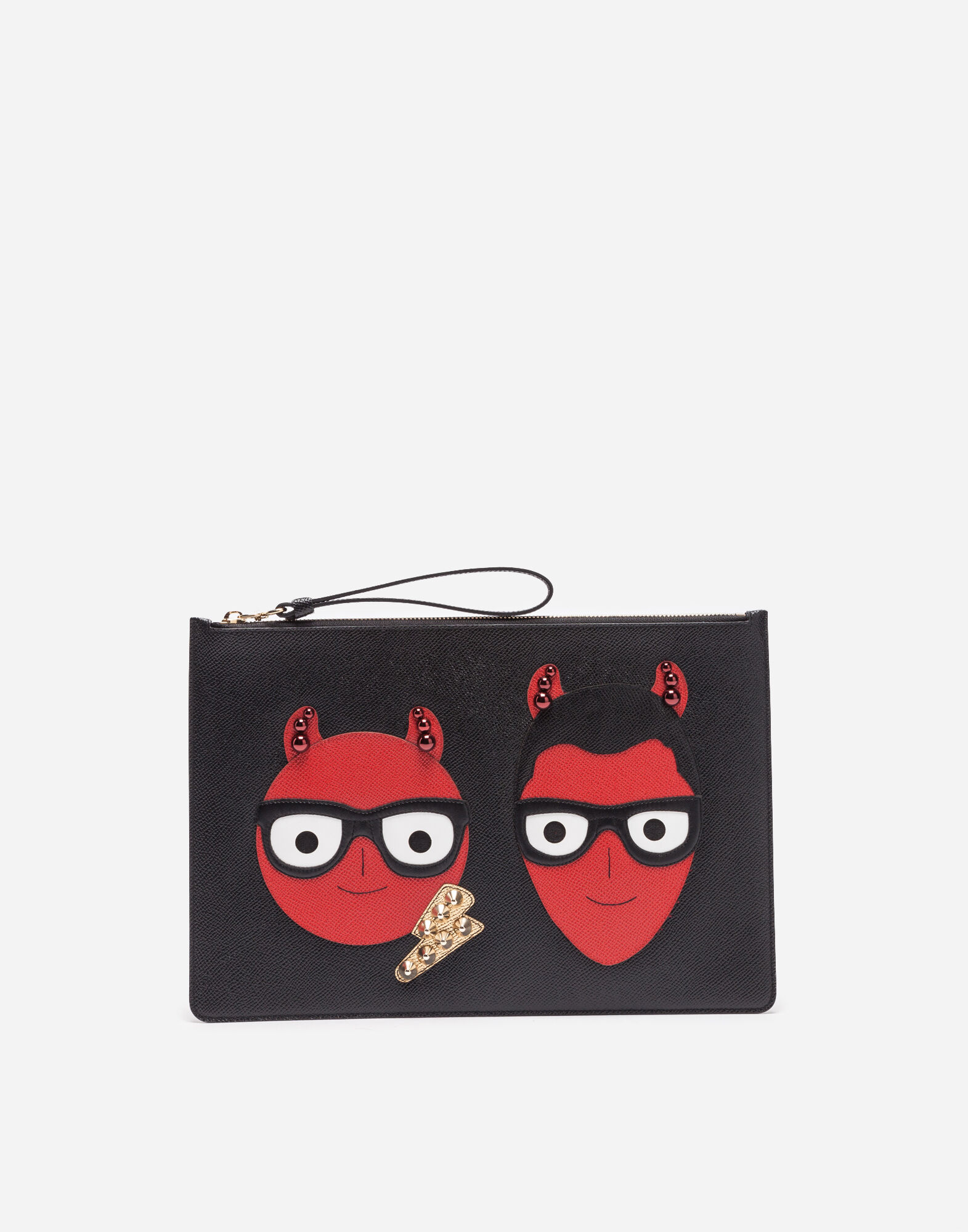 Leather Pouch With Patches Of The Designers in Black