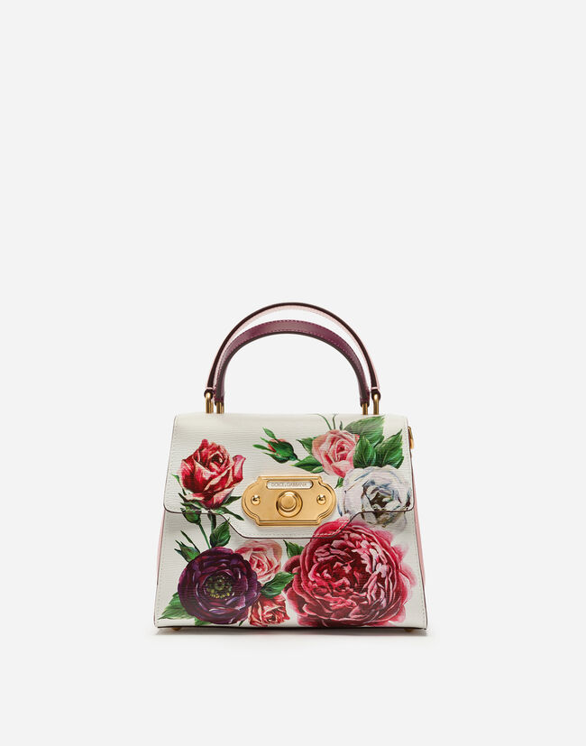 MEDIUM WELCOME BAG IN PEONY-PRINT BOARDED CALFSKIN