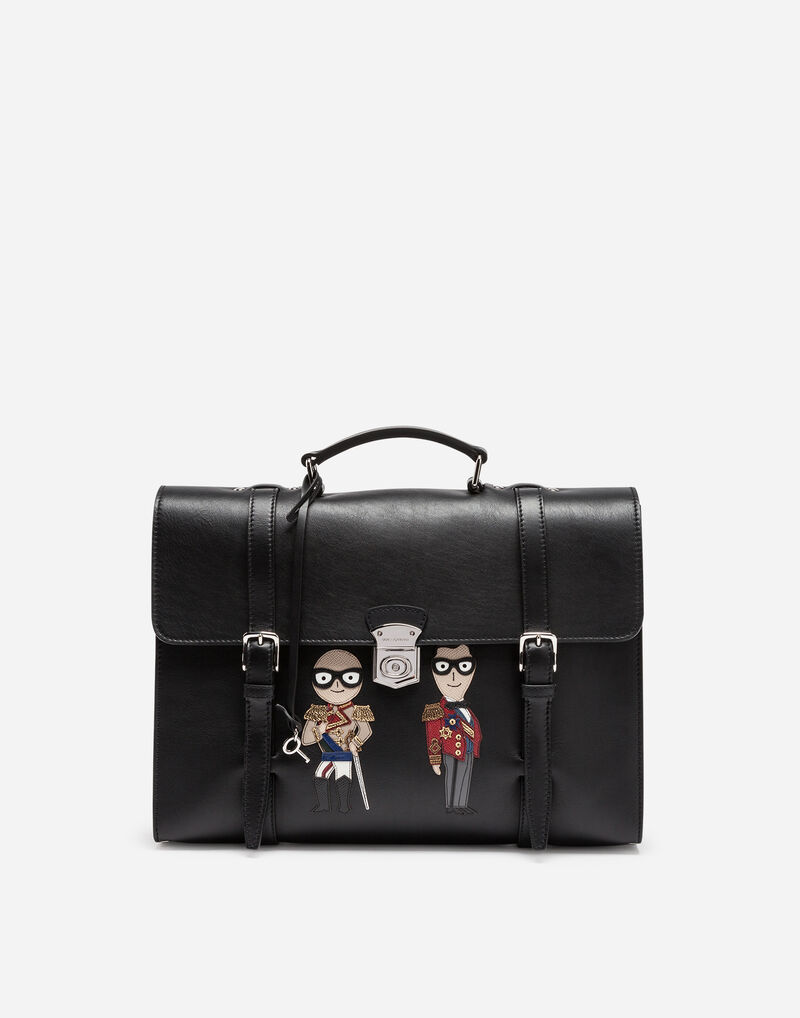 BRIEFCASE IN LEATHER WITH DESIGNERS' PATCHES