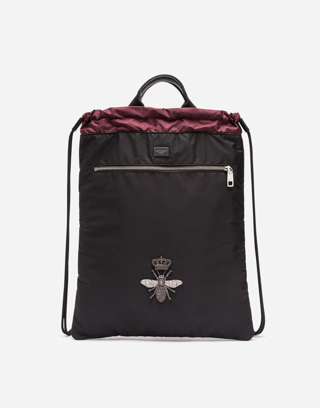 NYLON BACKPACK WITH DRAWSTRING WITH EMBROIDERY