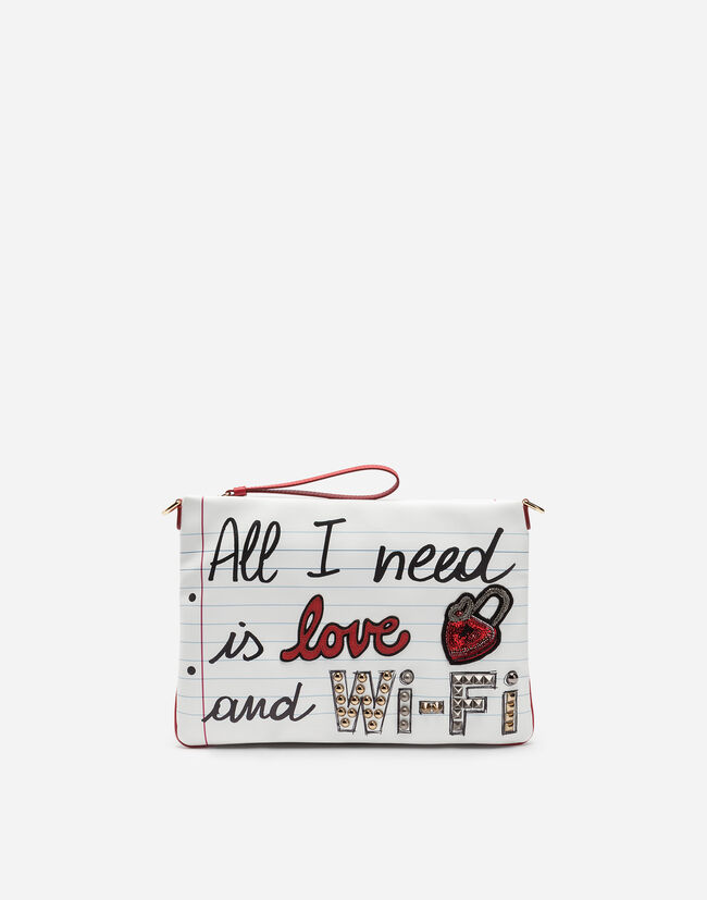 CLEO BAG IN PRINTED NAPPA LEATHER WITH APPLIQUÉS