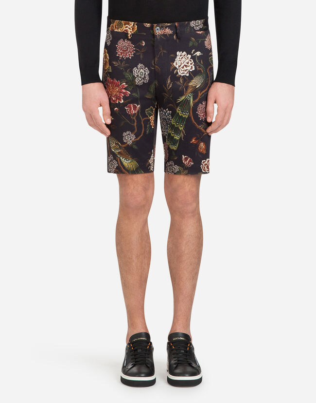 PRINTED COTTON DRILL BERMUDA SHORTS