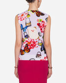 SLEEVELESS SWEATER IN PRINTED CASHMERE/SILK