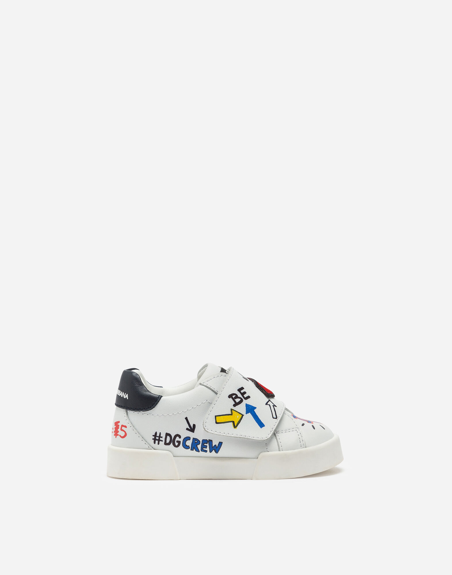 Newborn Boys' Shoes for First Steps | Dolce&Gabbana CALFSKIN PORTOFINO LIGHT SNEAKERS WITH PATCH