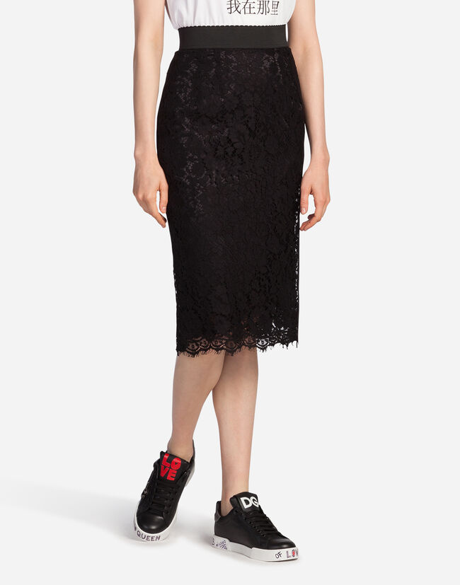 Dolce & Gabbana STRAIGHT SKIRT IN CORD LACE