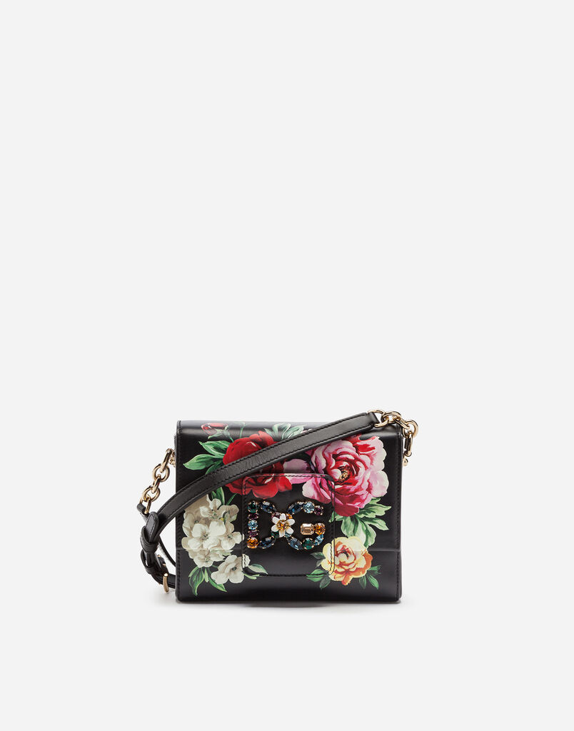 DG MILLENNIALS CROSS-BODY BAG IN RAFFIA WITH DECORATIVE PATCHES IN PRINTED CALFSKIN