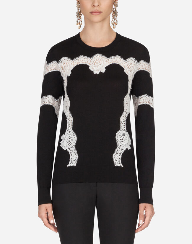 Dolce & Gabbana SWEATER IN WOOL AND COTTON WITH LACE