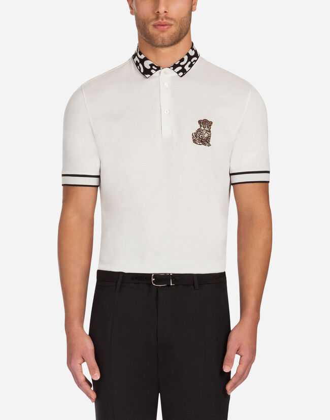 COTTON POLO SHIRT WITH CONTRASTING COLLAR