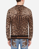 CREW NECK SWEATSHIRT IN JERSEY WITH LEOPARD PRINT
