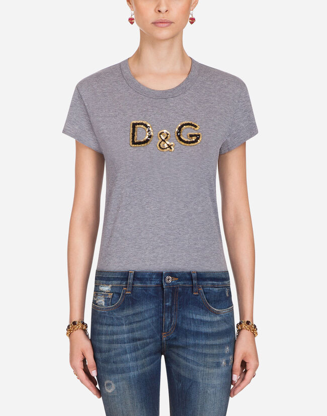 COTTON T-SHIRT WITH D&G EMBROIDERY