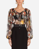 BLOUSE IN PRINTED SILK CHIFFON