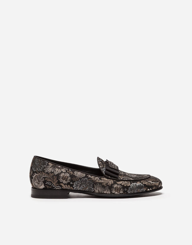 SLIPPERS IN LUREX JACQUARD WITH BOW TIE
